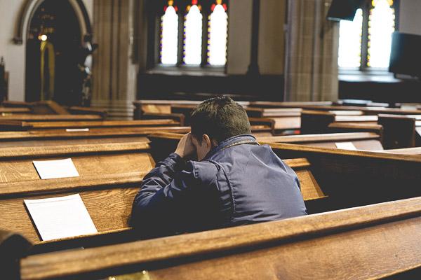 Free Stock Photos for Blogs - Man Praying in Church 1
