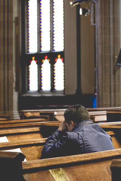 Free Stock Photos for Blogs - Man Praying in Church 2