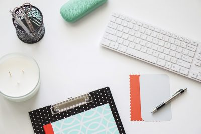 Free Stock Photos for Blogs - Mint Green and Coral Office Desk 2